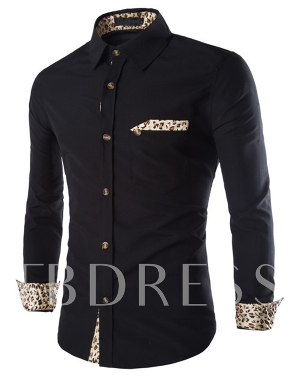 Lapel Patchwork Single-Breasted Long Sleeve Men's Dress Shirt