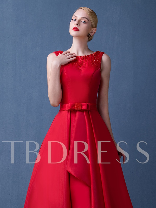 A-Line Bowknot Asymmetrical Length Prom Dress