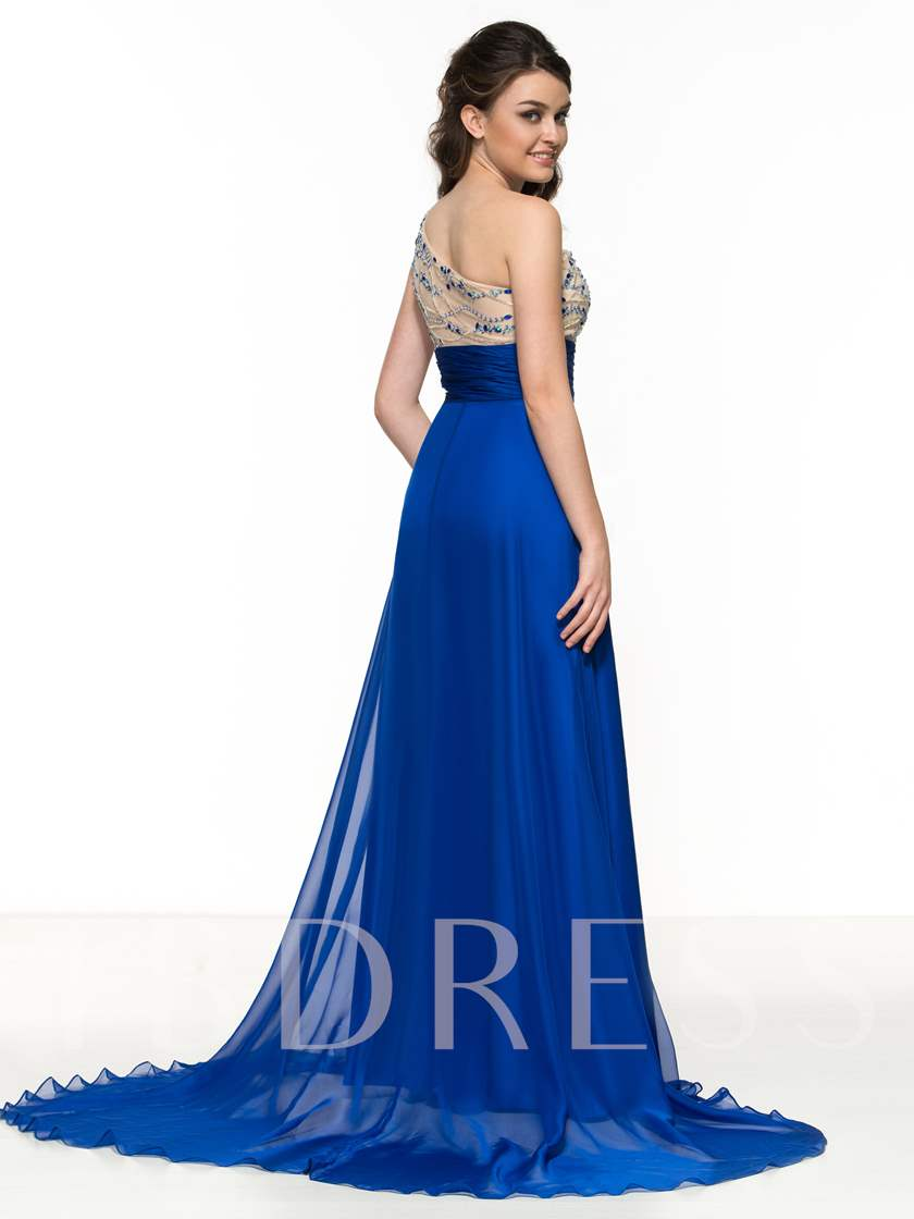 A-Line One-Shoulder Beaded Side-Split Prom Dress