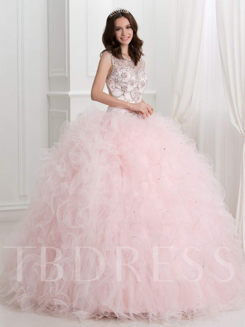 Sheer Neck Open Back Beaded Ball Gown Quinceanera Dress