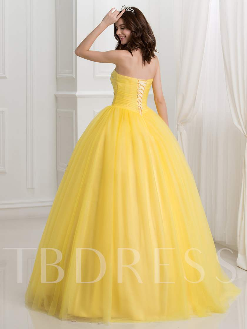 Strapless Lace-Up Sequins Ball Gown Quinceanera Dress