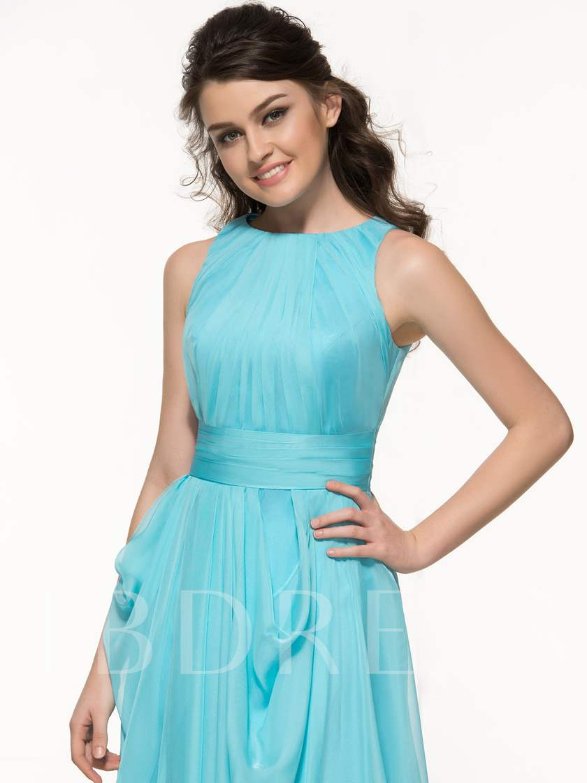 A-Line Side-Split Pleats Long Prom Dress