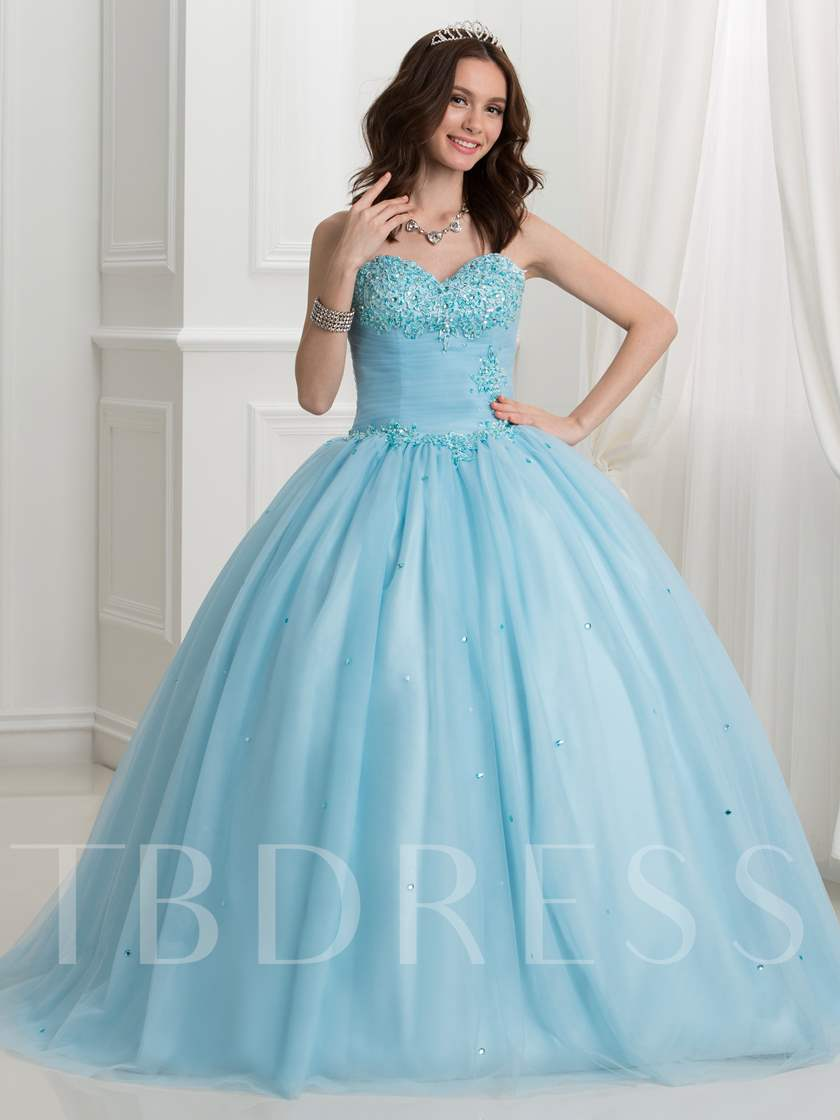 Sweetheart Appliques Beading Ball Gown Quinceanera Dress