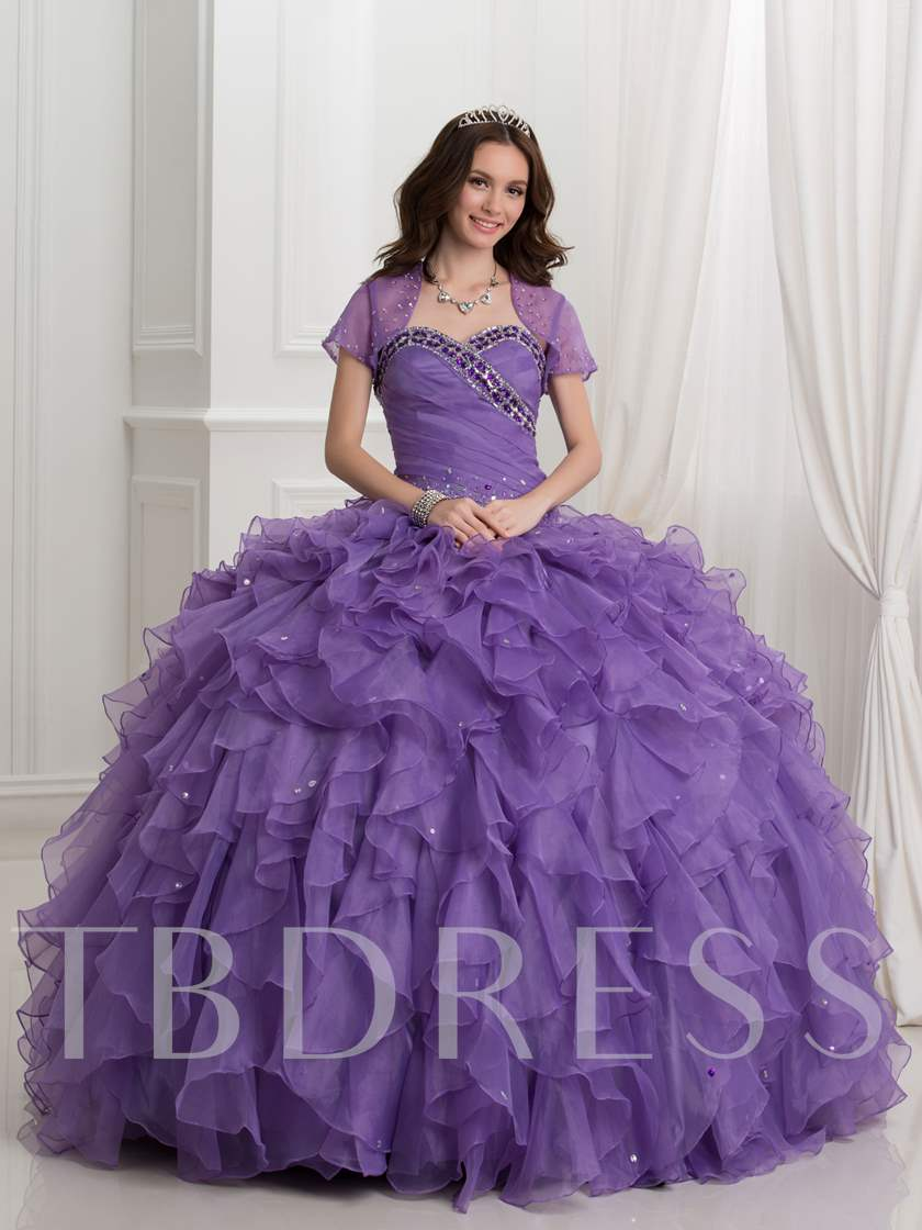 Cascarding Ruffles Ball Gown Purple Quinceanera Dress With Jacket