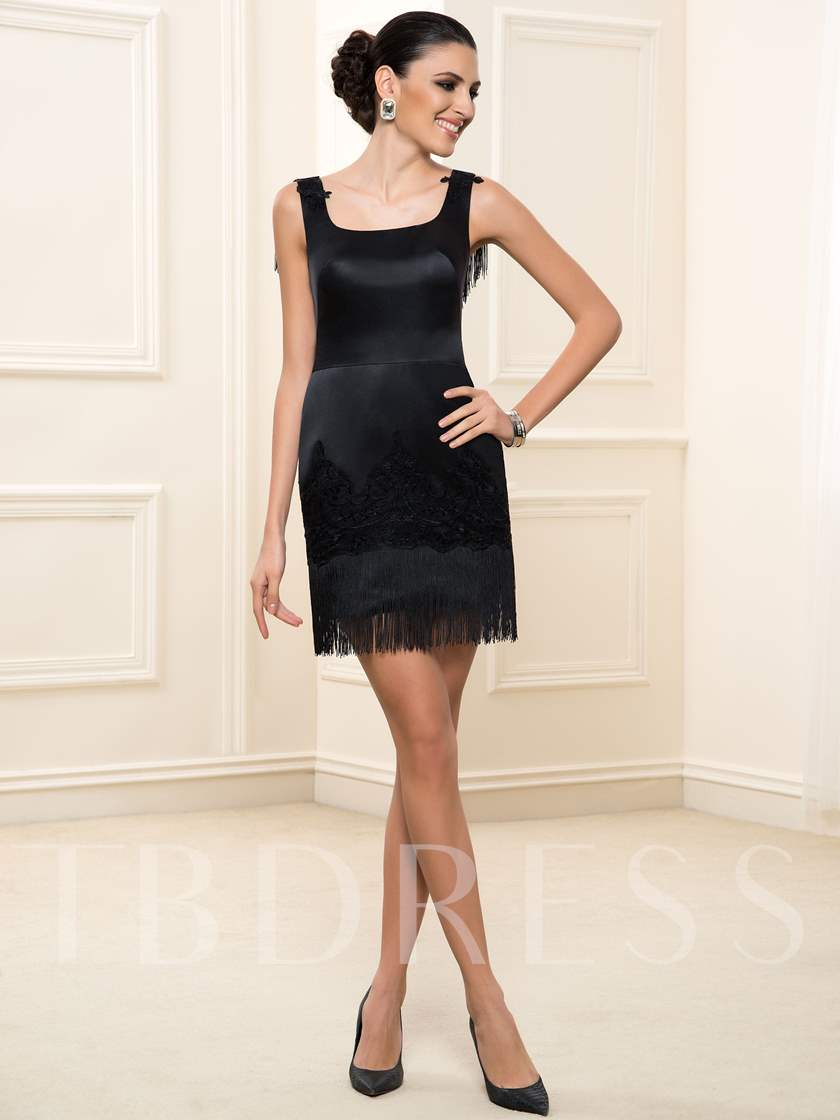 Square Tassel Sheath Short Cocktail Dress