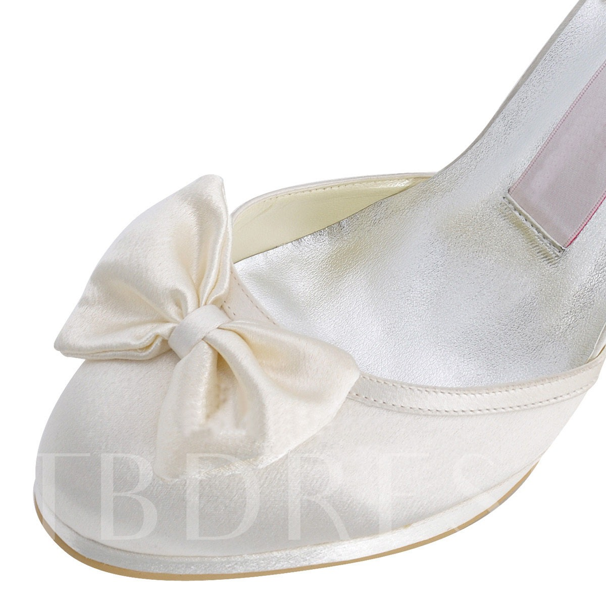 Round Toe Lace-Up Rhinestone Bead Bowtie Women's Wedding Shoes