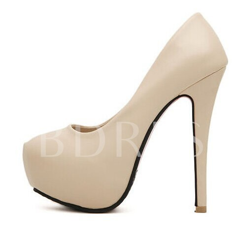 Deluxe Apricot PU Upper Sky-high Platform Stiletto Heels