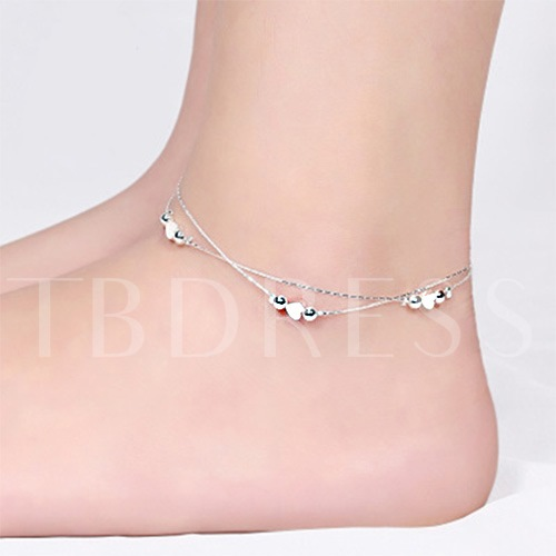 Silver Love Heart Anklet