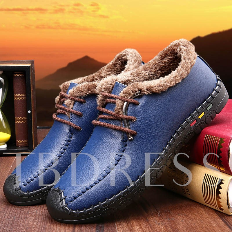 Color Block Round Toe Short Floss Flat Heel Men's Loafers