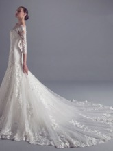 3/4 Length Sleeve Beading Appliques Mermaid Wedding Dress