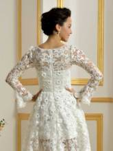 Lace Beading Long Sleeve Short Beach Wedding Dress