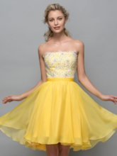 A-Line Strapless Appliques Sequins Short Cocktail Dress