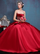 Strapless Lace-Up Appliques Ball Gown Quinceanera Dress