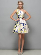 One-Shoulder Pattern Print Short Cocktail Dress