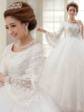 3D Floral Beading Vintage Lace Ball Gown Muslim Wedding Dress