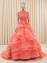 High Neck Bowknot Lace Tiered Quinceanera Dress