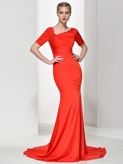 Short Sleeve Court Train Mermaid Evening Dress