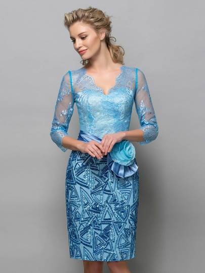 3/4 Long Sleeve V-Neck Sequins Sheath Cocktail Dress