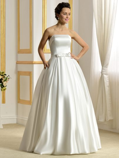 Strapless Matte Satin Ball Gown Bowknot Pockets Wedding Dress