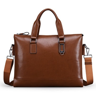 Business Waxy Zipper Men's Tote Bag
