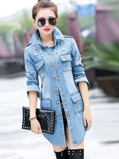Stand Collar Hole Worn Denim Slim Women's Trench Coat