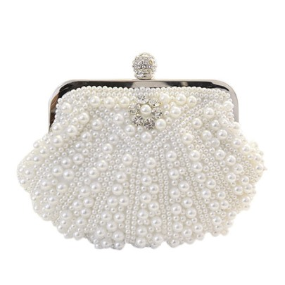 Apricot / White Pearl Shell Design Women's Dinner Bag