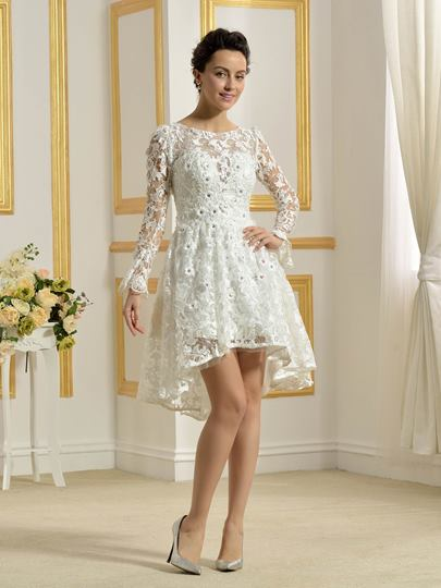 Lace Beading Long Sleeve Short Beach Wedding Dress Lace Beading Long Sleeve Short Beach Wedding Dress
