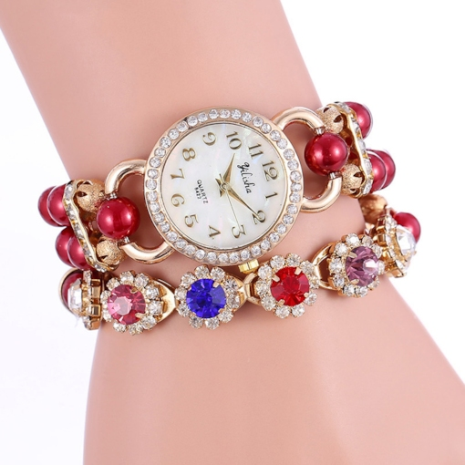 Pearl Winding Bracelet Female Watch