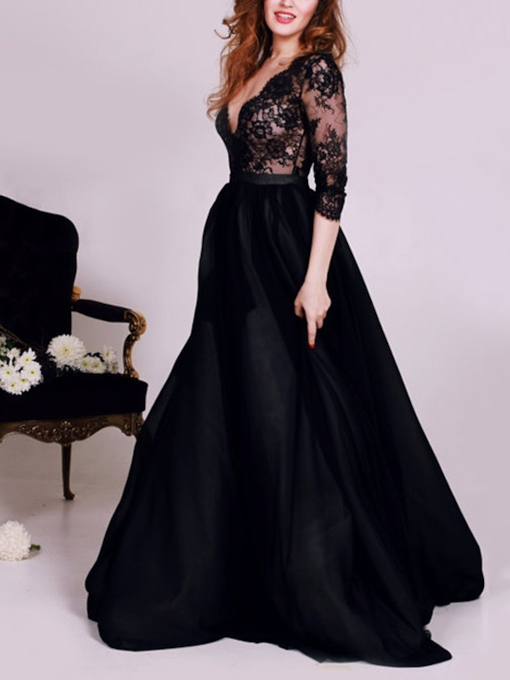 Deep V-Neck A-Line Lace Split-Front Prom Dress