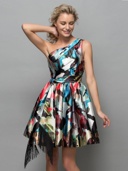 One-Shoulder Asymmetrical Length Print Cocktail Dress