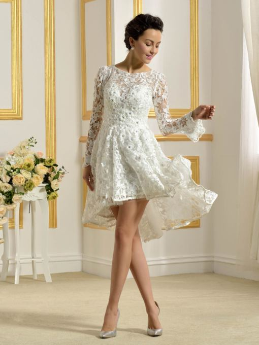 Asymmetry Lace Long Sleeve Wedding Dress
