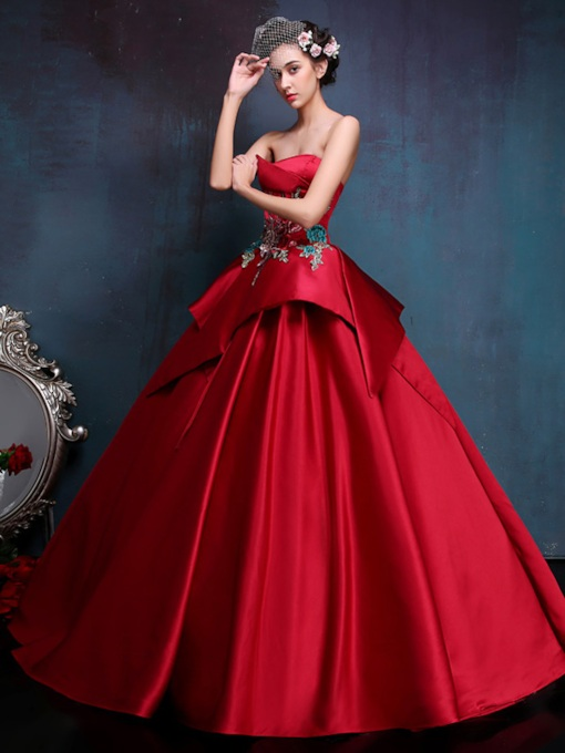 Strapless Lace-Up Embroidery Ball Gown Quinceanera Dress