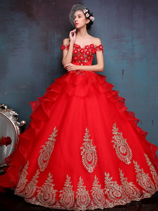 Off-The-Shoulder Appliques Ball Gown Long Quinceanera Dress