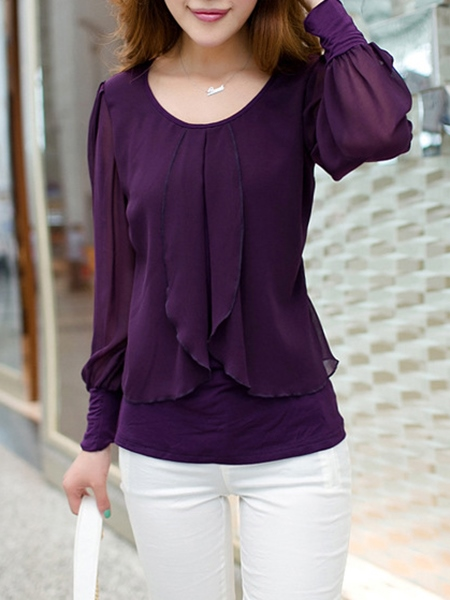 Pure Color Chiffon Women's Blouse