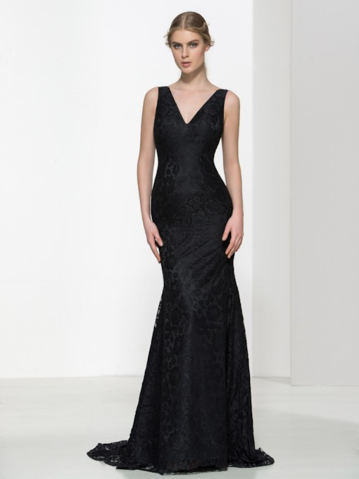 Double V-Neck Court Train Lace Evening Dress