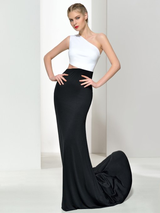 One-Shoulder Contrast Color Sheath Evening Dress