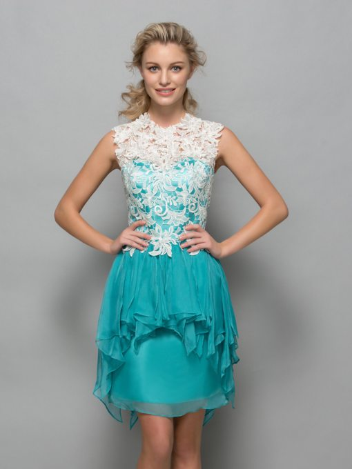 Cowl Neck Appliques Cascarding Ruffles Cocktail Dress