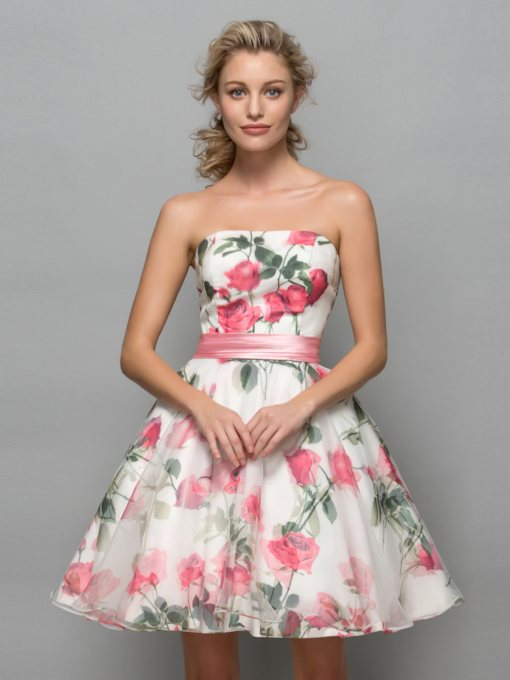 A-Line Strapless Short Floral Print Cocktail Dress