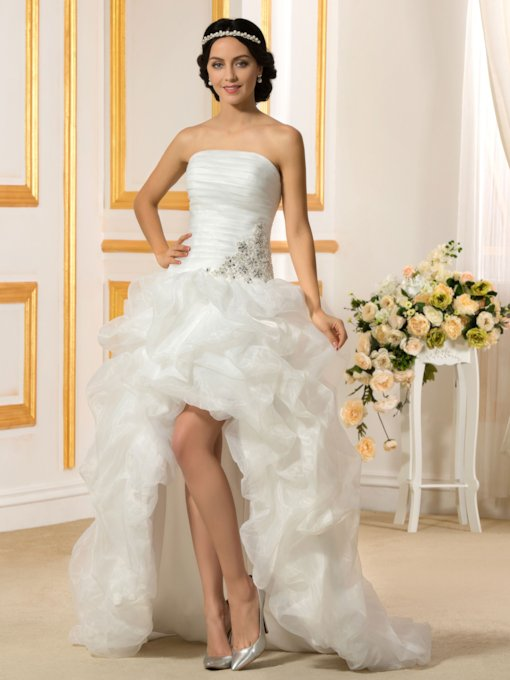 Strapless Draped Organza Beading High Low Beach Wedding Dress