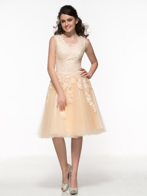 A-Line V-Neck Appliques Lace Prom Dress