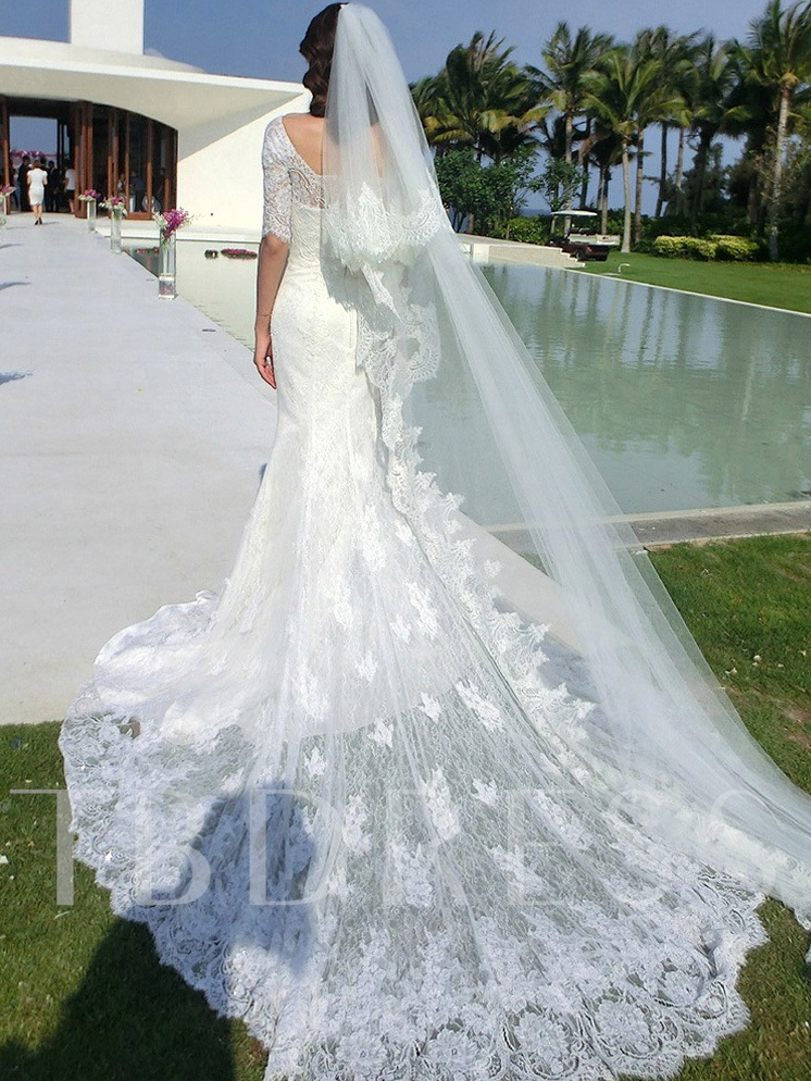 Image of Off the Shoulder Half Sleeve Mermaid Lace Wedding Dress