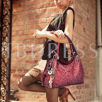Retro Roomy Hollow Out Zipper Women's Tote Bag