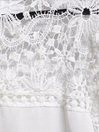 Solid Color Lace Patchwork Long Sleeve Women's Blouse