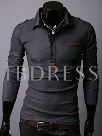 Men's Long Sleeve Polo with Half Breasted