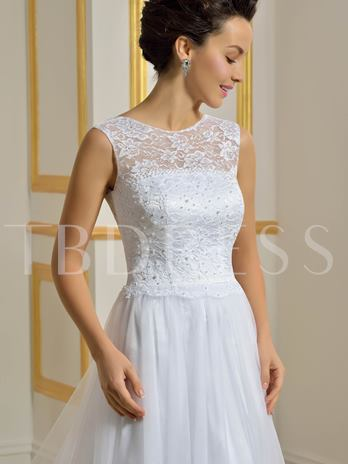 Soft Tulle Lace Beading A-Line Lace-Up Beach Wedding Dress