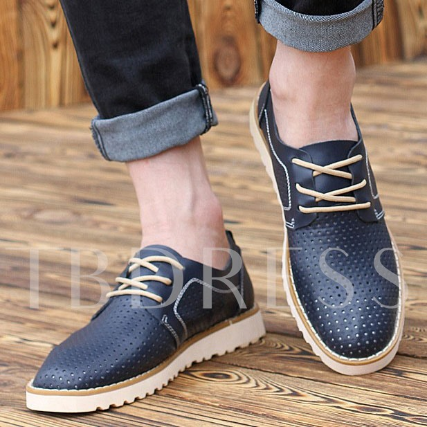 Hollow Flat Heel Cross Strap Men's Oxfords