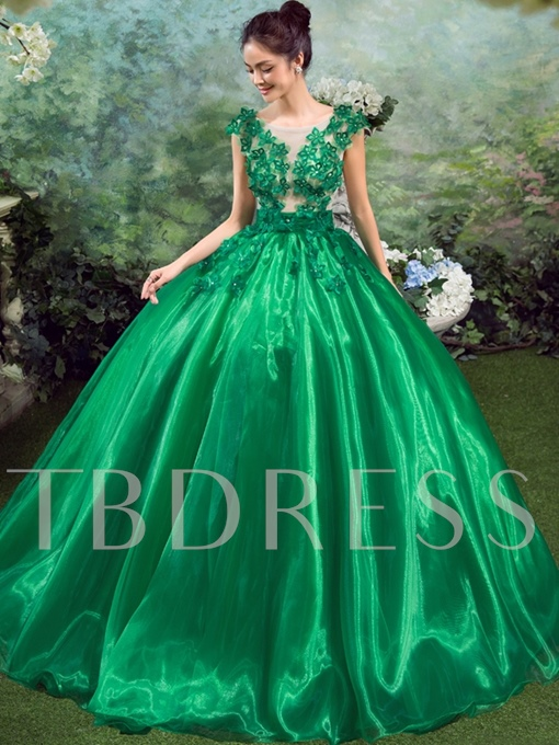 Cap Sleeve Appliques Long Ball Gown Quinceanera Dress