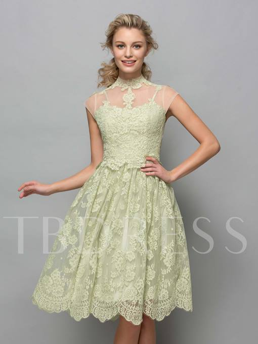 High Neck Knee-Length Lace Cocktail Dress