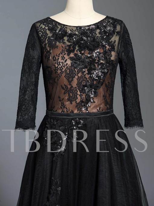 Half Sleeve Black Lace Mother of the Bride Dress