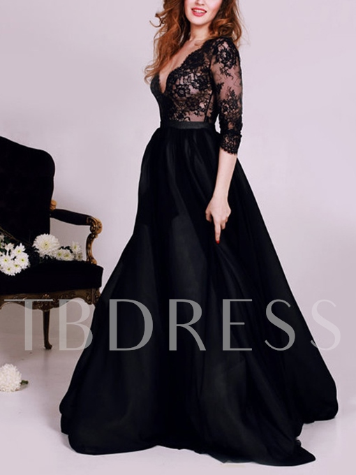Deep V-Neck A-Line Lace Split-Front Evening Dress
